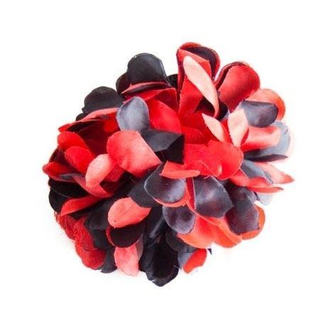 Haarbloem rood zwart