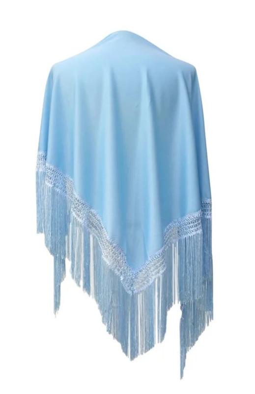 Spaanse manton/omslagdoek effen licht blauw