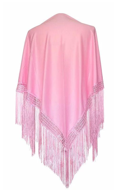 Spaanse manton/omslagdoek effen licht roze