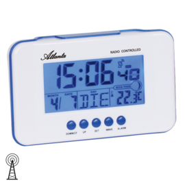 Atlanta Radiogestuurde Digitale Wekker met Datum, Temperatuur en Maanstand Blauw