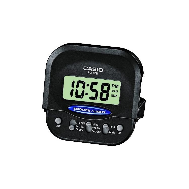 Casio Digitaal Mini-Reiswekkertje met Snoozefunctie Zwart