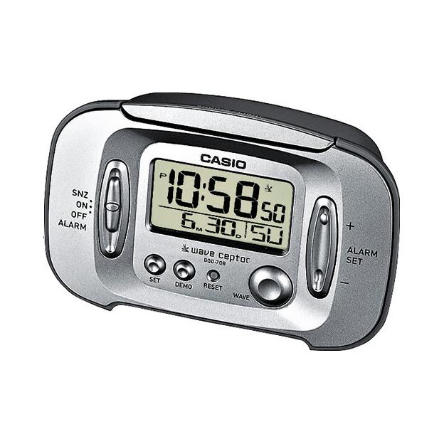 Casio Wave Ceptor Digitale Wekker met Snoozefunctie Zilvergrijs