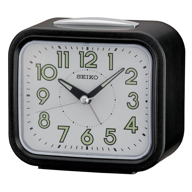 Seiko Sluimer Wekker Geruisloos met Bel Alarm Zwart/Wit
