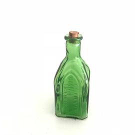 Vintage mini flesje met kurk groen