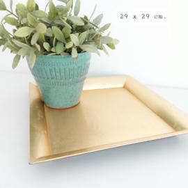 Huren:  dienblad kunststof goud vierkant