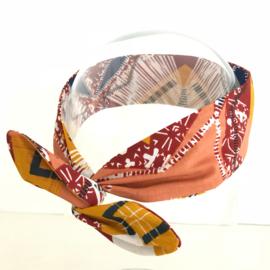 """Haarband met ijzerdraad """"uit eigen atelier"""", India print 2"""