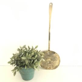 Vintage (Antiek zelfs) geelkoperen schuimspaan, 19e eeuw