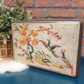 Vintage blik 'Van Melle' met paradijsvogels, jaren '50;