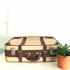 Vintage stoffen koffer beige/ bruin