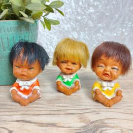 Vintage lach , huil, boos- poppetjes, Korea, 70's