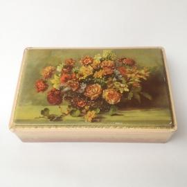 "Vintage blik ""Coffret Hollandais"" met bloemen"