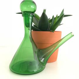 """Vintage glazen schenkkan groen, met """"stop"""""""