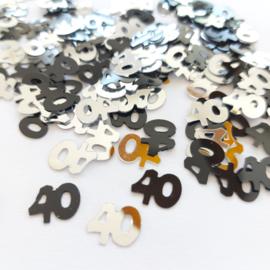 """Strooi cijfers """"40"""", zilver en zwart"""