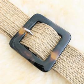 SALE: Riem elastisch beige met kunststof gesp vierkant