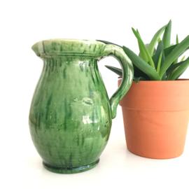 Handgemaakte vintage kan/vaas met oor, groen