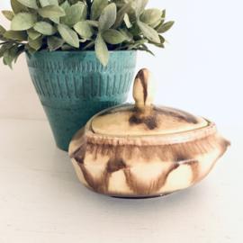Vintage schaaltje met deksel, Bay keramik,  geel/ bruin/goud, jaren 50