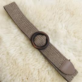 SALE: Riem elastisch beige met houten gesp vierkant/rond/plat-rond