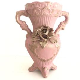 Vintage Capodimonte vaas roos, gerestyled