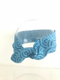 """Haarband met ijzerdraad """"uit eigen atelier"""", blauwe retroprint"""
