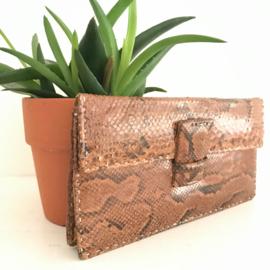 Vintage slangen leder handtasje, handgemaakt