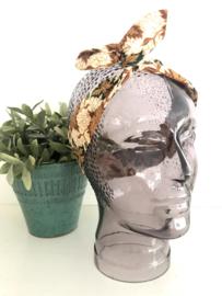 """Haarband met ijzerdraad """"uit eigen atelier"""", Indonesische print 3, korte lengte"""