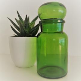 Vintage stopfles/pot groen glas uit de 70's, 22 cm