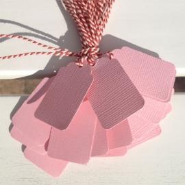 Prijs kaartjes( tags) licht roze M