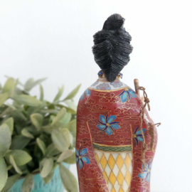 Vintage cloisonné chinese dame