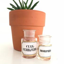 """Vintage apothersflesjes """"Cyan; Ferr:Ferr & Morphine"""""""