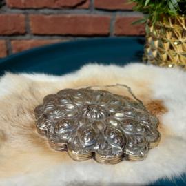 Antieke Handgemaakte Turkse bruidsspiegel in Ottomaanse stijl, zilver