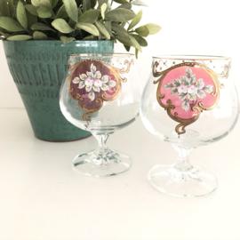 Vintage Venetiaanse hand gedecoreerde glazen ( 2x)