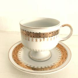 Vintage kop en schotel 17 goud