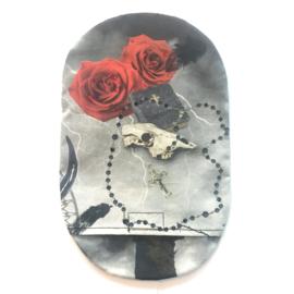 """Stoma cover/ hoesje """"skull, rozenkrans"""" mét steentjes"""