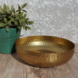 """Huren:  Dienblad/ schaal """"goud"""" gehamerd Ø24 cm"""