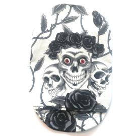 """Stoma cover/ hoesje """"dia de los muertos"""", zwart/ wit"""