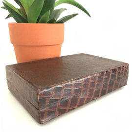 Vintage lederen/houten doos