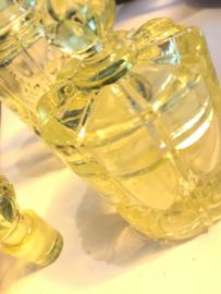 Vintage flesje en potje met deksel, vasaline glas uit jaren '30