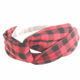 Haarband met elastiek voor kids rood/zwarte ruit