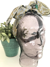 """Haarband met ijzerdraad """"uit eigen atelier"""", Indonesische print 1"""