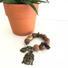 Armband houten kralen met hanger Boeddha en diversen