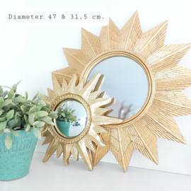 Huren:  Set van 2 zonnespiegels goud, 47 & 31,5 cm