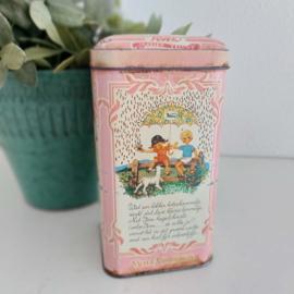 """Vintage blik """"Venz"""" chocolade hagelslag roze"""