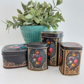 Vintage blikjes ;  zwart met rozen en goud decor op craquelé basis