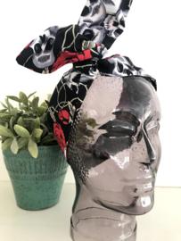 """Haarband met ijzerdraad """"uit eigen atelier"""", print dia de los muertos"""