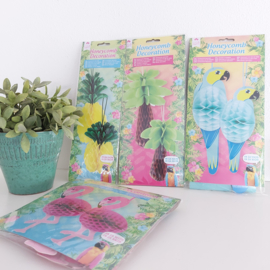 Honeycomb decoratie; papagaaien, palmbomen, ananassen en flamingo's