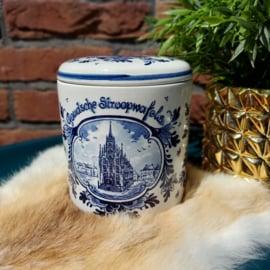 Vintage Goudsche stroopwafels pot Delfts blauw