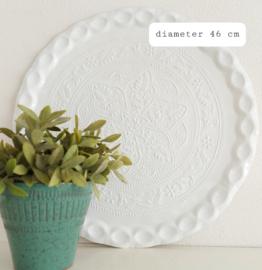 """Huren:  Dienblad wit , """"Oosters"""", Ø  46 cm"""