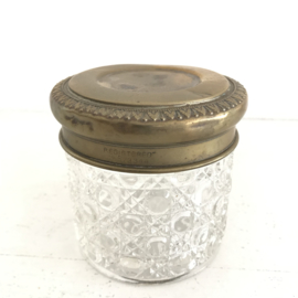 Vintage glazen potje met koperen/ messing deksel