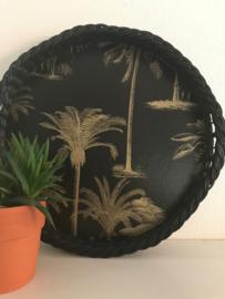 """Vintage dienblad riet met nieuw decor """"palmen"""", uit eigen atelier"""
