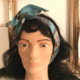 """Haarband lange """"oren"""" met ijzerdraad """"uit eigen atelier"""", turquoise groene retro print"""